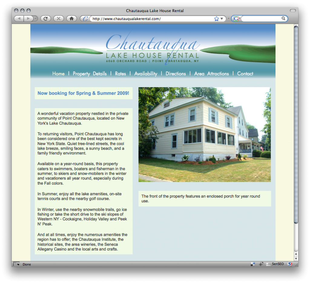 Screen Shot of chautauqualakerental.com