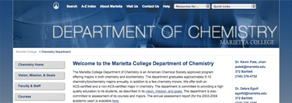 Department of Chemistry at Marietta College Website