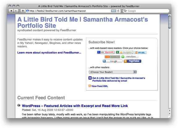Screen shot of the subscribe page